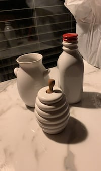 Bottle, ceramic vase, porcelan honey container with spoon