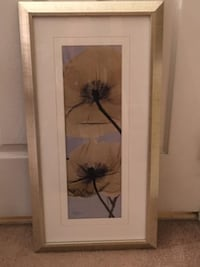 Artwork:  Framed Wall Art of Water Lilies in Shades of Light Amber , Sky-Blue and Black  Lansdowne