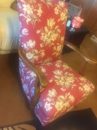 red and white floral fabric padded armchair Dublin, 43016