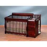 brown wooden crib with changing table Knightdale, 27545