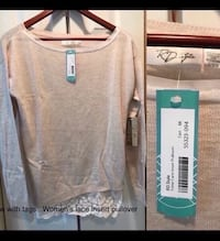 Women's lace insert pullover blouse.  New with tags.  Bought from Stitch Fix.  Tonie Lace Insert Pullover in tan.  Paid $68.  Great Mother's Day gift Fullerton, 92831