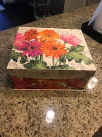 white, pink, and green floral wooden box Naples, 34108