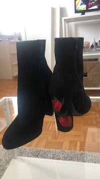 black-and-red floral suede chunky heeled booties