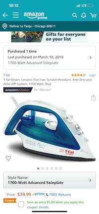T-fal iron - open box never used Chicago, 60611
