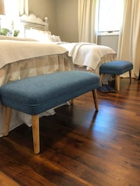 """$55 EACH- two Denim blue fabric covered benches with lighter legs. Approx 18"""" x 37"""" x 15.5"""".  Bourbonnais, 60914"""