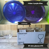clear wine glasses with box and purple glass plates collage Edmonton, T5A 4L5
