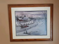 brown wooden framed painting of house East Gwillimbury, L9N 1A8