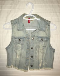Distressed blue-washed jean jacket
