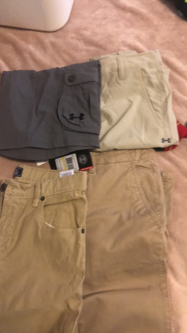 two white and brown shorts