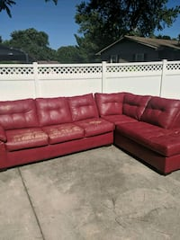 Red leather sectional couch Fredericksburg, 22405