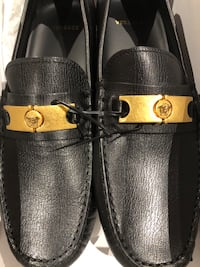 Black and Gold Versace Loafers