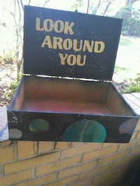 Hand painted wooden chest. Space & planet themed. Panama City, 32405