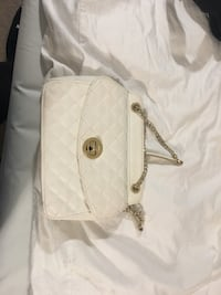 White faux leather tote bag