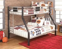 White and black bunk bed