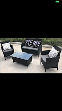 Outdoor Patio Furniture Loveseat Table and Chairs