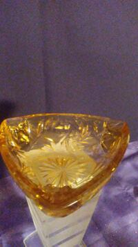 Cut Amber Glass Ashtray