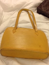 brown and white leather tote bag Vaughan