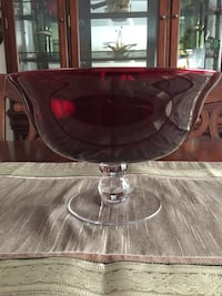 PartyLite Deep Red Pedestal Bowl/Candle Holder with Matching Stemmed Votive Candle Holders/Glasses Saint Louis, 63129