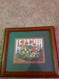 red and white flower painting with brown wooden fr Stafford, 22554