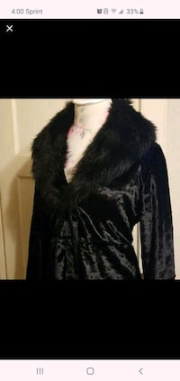 Black faux fur Collar velvet coat Essex, 21221