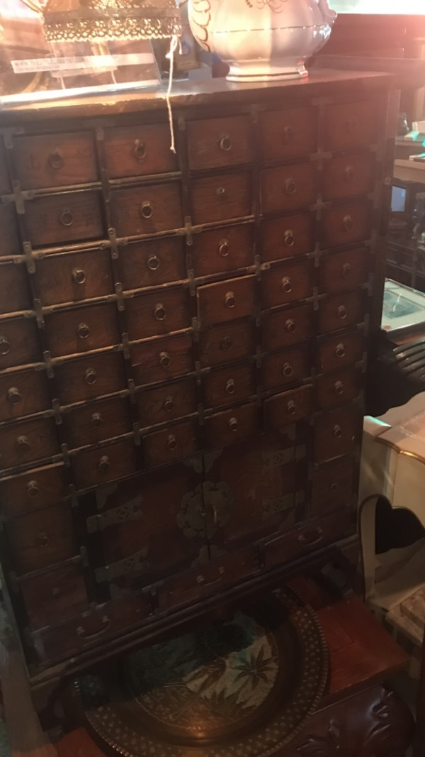 brown wooden card file cabinet