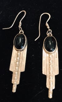 Artist made sterling and onyx long earrings Silver Spring, 20904