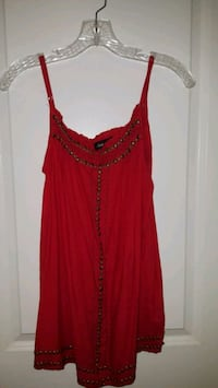 Red studded women's strap top