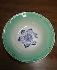 round green and blue floral ceramic plate Boyertown, 19512