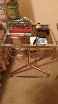 square silver metal framed glass top side table Towson, 21204