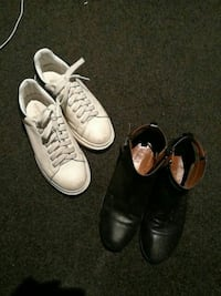 white lace-up low-top sneakers; black leather side-zip boots Chatswood, 2067