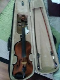 brown violin with black case