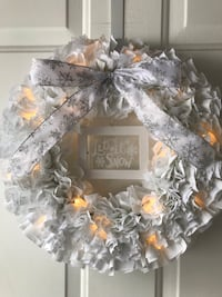 Handmade Lighted Let it Snow Winter Rag Wreath Londonderry, 03053