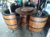 Whiskey/Wine Barrel table and stools set. Belleville, K8P 2H9
