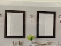 New! Pair of Grey Wooden Mirrors
