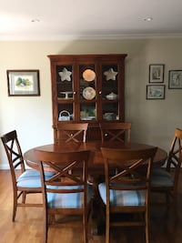 Pedestal Oval Table, Lighted  Hutch and 6 newly upholstered chairs SEALBEACH