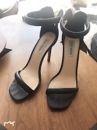 pair of black leather open-toe ankle strap heels Vancouver, V6Z 2Y1