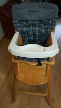 baby's white and brown high chair