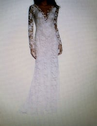 Size 14, 16; Wedding Dress, Long Lace Sleeves Lewisville, 75067