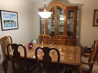 Dining room set, table, chairs, expansion leafs + china cabinet Sterling