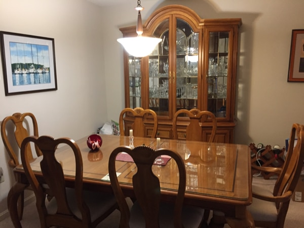 Dining Room Set, Table, Chairs, Expansion Leafs + China Cabinet
