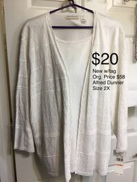 New w/ tags Alfred Dunner White Sweater top, Size 2X Chesapeake, 23320