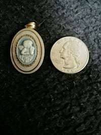Blue carv. Angel Cameo on Opal shell pendant .925 Berkeley Township, 08721