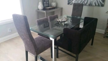 Glass table & chairs from Urban Barn