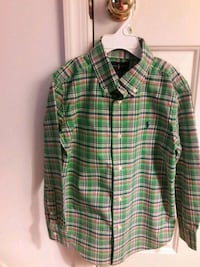 Boy's green, white, and red plaid dress shirt Bowie, 20716