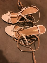 pair of white leather open-toe sandals Long Beach, 90804