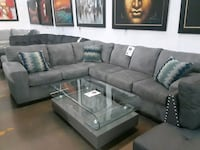 gray leather sectional sofa with ottoman 1157 mi