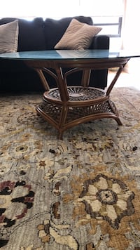 Brown wooden framed glass top table Woodbridge Township, 07001