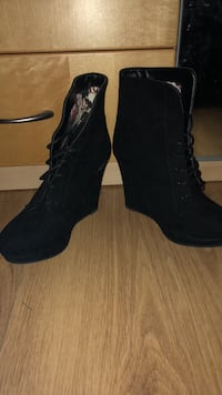 pair of black suede chunky heeled booties Fairfax, 22030