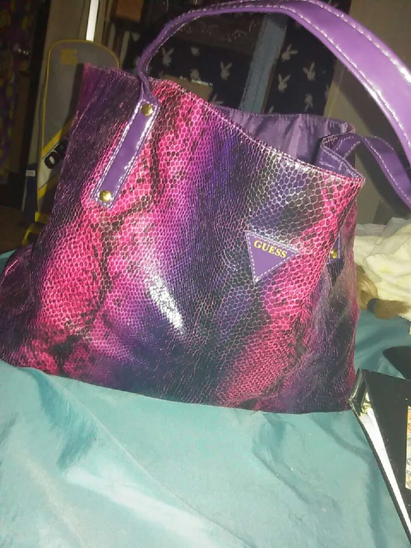 032fcd373b Used purple black and pink snake skin print guess tote for sale in Ocala -  letgo