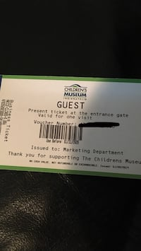 Four tickets to the children's Museum expires 1/31/2020 Indianapolis, 46239